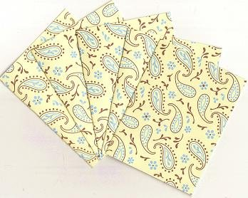 Set of 5 Yellow, Brown, and Blue Paisley Note Cards
