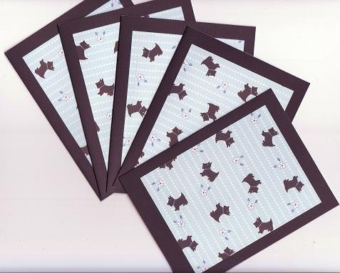 Set of 5 Black Scottie Dog Cards with Envelopes