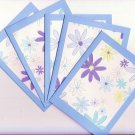 Set of 5 Fancy Shades of Blue Flowers Cards with Envelopes