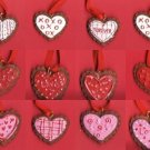 Set of 12 Dimensional Resin Pretty  Frosted Decorated Valentines Day Cookie Cards