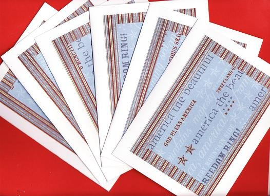 Set of 6 Americana Song Medly Cards with Envelopes