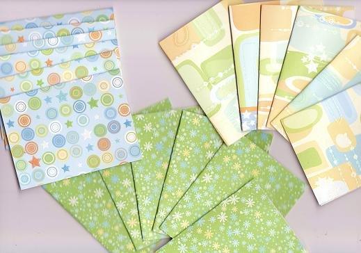 Set of 18 Bright Pastel Santa Fe Shapes Note Cards