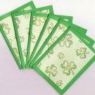 Set of 6 Green Stripes and Shamrocks Saint Patricks Day Note Cards