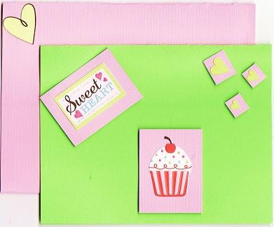 Green and Pink Dimensional Sweetheart Cupcake Card with Matching Envelope