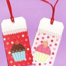 Set of 2 Glitter Cupcake Rectangle Valentines Day Gift or Hang Tags