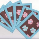 Set of 6 Tropical Blue and Pink Hawaiian Flowers Note Cards