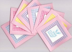 """Set of 8 Dimensional """"Some Bunny Loves You"""" Pastel Gingham Easter Note Cards"""