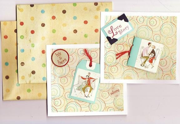 Set of 2 Dimensional French Love Story Cards with Real Tag and Book with Envelopes