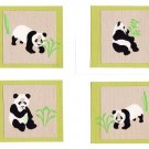 Set of 4 Layered Sparkly Panda with Bamboo Postcards