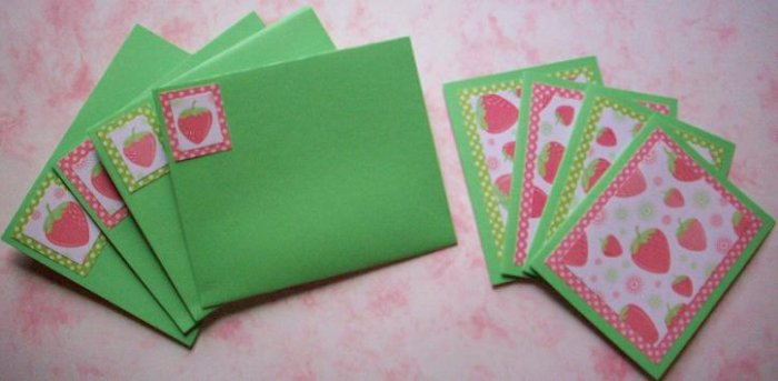Set of 4 Glittered Falling Strawberry with Polka Dots Cards with Matching Envelopes