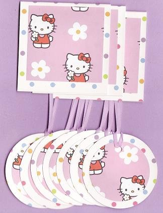 Set of 10 Hello Kitty Polka Dot Pastel Gift Set: 3 Note Cards and 7 Tags