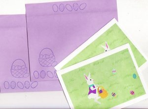 Set of 2 Easter Bunny Hopping For Eggs Cards with Matching Envelopes