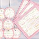 Pink Glittered Baby Gift Set: 3 Cards with Envelopes, 7 Gift or Hang Tags