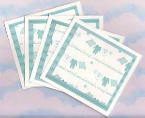 """Set of 4 Baby Boy """"Onesies and Blankets, and Diapers, Oh My!"""" Cards with Envelopes"""