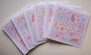 Set of 6 Bohemian Paisley Flower Cards