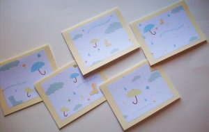 "Set of 5 ""Stuck Out In The Rain"" and ""Just A Little Spring Shower"" Cards with Envelopes"