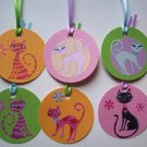 Set of 6 Textured Sassy Pretty Kitty Gift or Hang Tags
