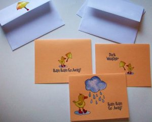 Set of 3 Textured Rainy Weather with Ducks Cards with Envelopes