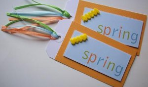 "Set of 2 Textured Dimensional ""Spring"" Large Gift or Hang Tags"