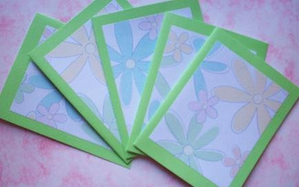 Set of 5 Textured Pastel Spring Flowers Cards with Envelopes