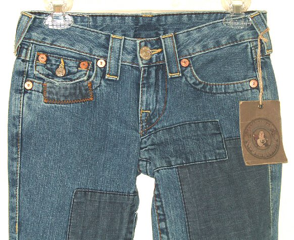 """NWT TRUE RELIGION """"JOEY"""" PATCH BOOT FLARE JEANS size 25"""