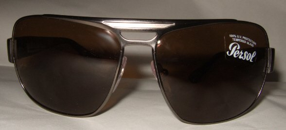 NEW AUTHENTIC PERSOL SUNGLASSES & LOGO CASE 2260 BRONZE METAL FRAME / BROWN POLARIZED LENSES