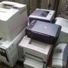 Lot used printers, various conditions. all power on. HP laser, Canon, Brother,