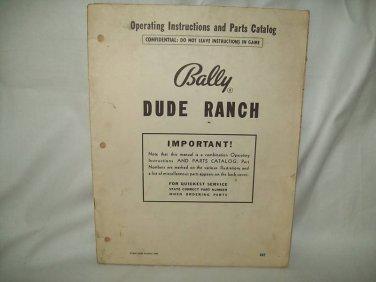 Dude Ranch Pinball Bingo Manual Bally Original