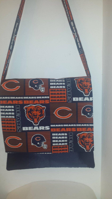Chicago Bears Orange and Blue Cotton Print Messenger, Cross Body Bag