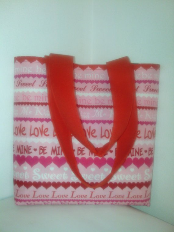 LOVE and KISSES Small Reversible  Valentine, Be Mine Tote