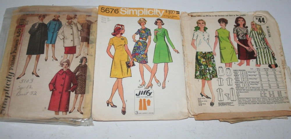 Lot of 3 Vintage Sewing Patterns Womens Skirts Dresses Coats Simplicity Quaker