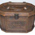 Vintage Lerner Lg Wood Grain Sewing Notions Thread Storage Organizer Box w Tray
