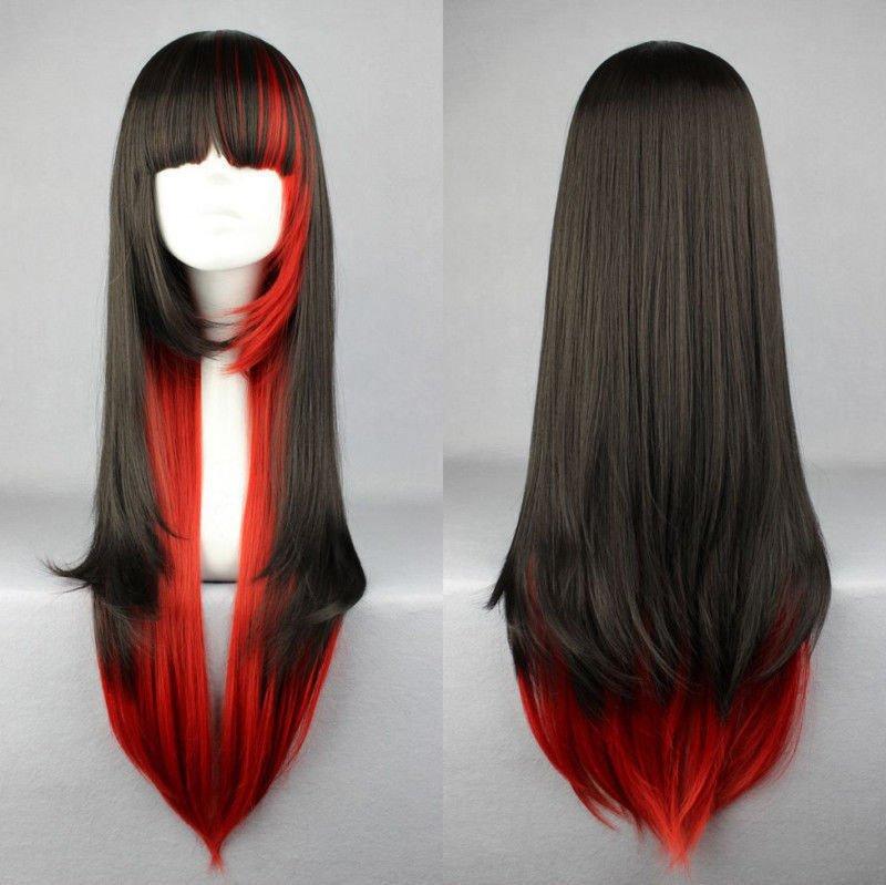 Lolita Women Harajuku Long Cosplay Wig Red Black Mixed Ombre Hair