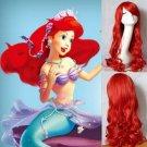 THE LITTLE MERMAID Ariel Curly wave red wig cosplay wig anime peluca hair
