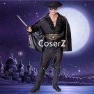 Custom Chivalrous Robbers Swordsman Zorro Costume, Zorro Cosplay Costume with black Boots