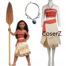 Custom Moana dress Cosplay Costume, Princess Moana Costume with Necklace for girls