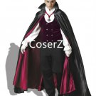 Dracula Vampire Cosplay Costume with Cloak+ white Gloves for adult