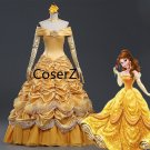 Beauty and The Beast Belle Dress cosplay costume,Dress Princess Prom Ball Gown without Cloak