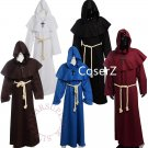 Medieval Friar cosplay Costume Renaissance Priest Monk Cowl Robes Cosplay with Necklace full outfit