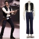 Movie Star Wars Cosplay Costume, Han Solo Costume Halloween Costume with Pants+Shirt+Vest
