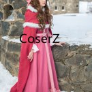 2017 Movie Beauty and the Beast Cosplay Belle Costume,Winter Belle Red Dress with Cape
