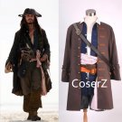 Custom Pirates of the Caribbean Captain Jack Sparrow Cosplay Costume Full Sets For Men