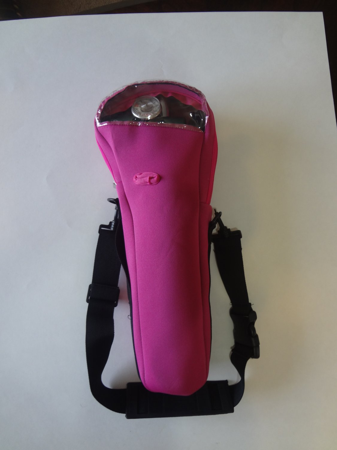 Fuchsia oxygen cylinder carrier for B or M-6 cylinders