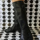 """Markon""Boots Black Leather Side Zip,Stretch Back Hi Mid Calf, Size US 8.5"