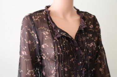 Peasant, Transparent, Button-Down, Brown ,Floral Blouse Embellished with Lace