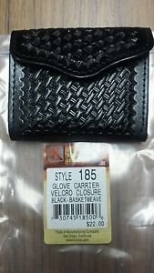 TRIPLE K LEATHER GLOVE POUCH #185 HOOK&LOOP CLOSURE BLACK BASKETWEAVE RET $25.50