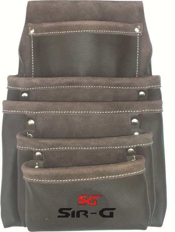 5 Pocket Oil Tanned Leather Tool Pouch Bag