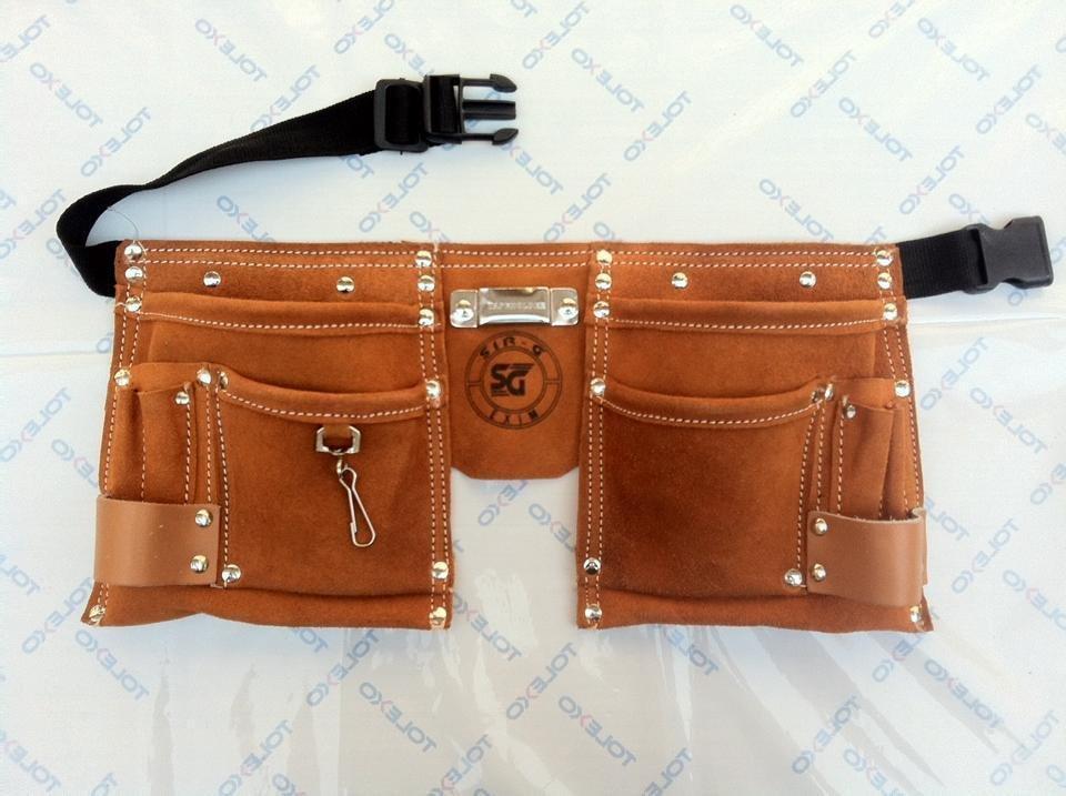 10 Pocket Suede Leather Kids Tool Pouch Bag Belt