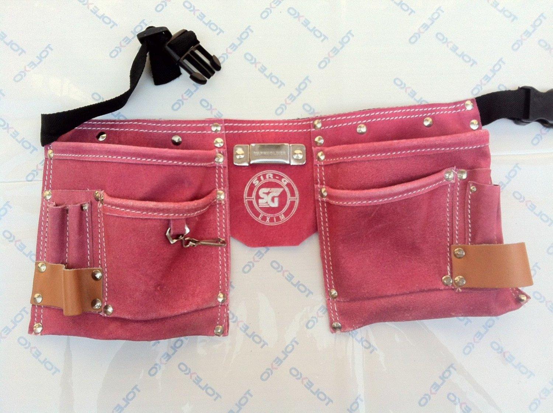 10 Pocket Suede Pink Leather Kids Tool Pouch Bag Belt