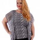 NEW $36 drape sleeve sheer blouse black white 1X2X3X plus tee shirt top